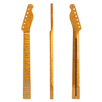 21 Fret Tiger Flame Maple Guitar Neck For TL Tele Electric Guitar Yellow Glossy