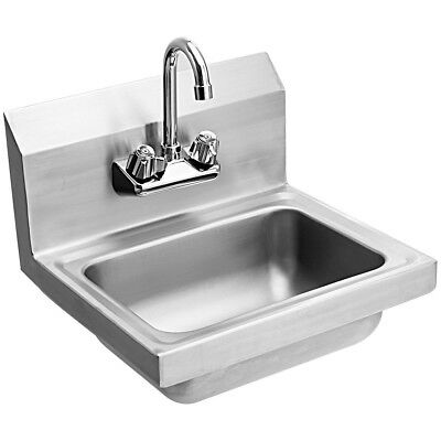 Stainless Steel Wall Mount Kitchen Bar Bathroom Washing Sink Basin With Faucet