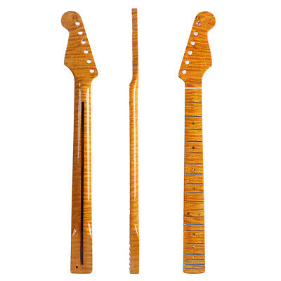 21 Frets Tiger Flame ST Maple Guitar Neck Abalone Dots For ST Stratorcast Parts