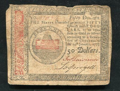 Cc-97 January 14, 1779 $50 Fifty Dollars Continental Currency Note