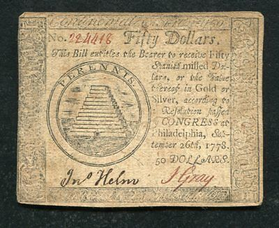 Cc-85 September 26, 1778 $50 Fifty Dollars Continental Currency Note