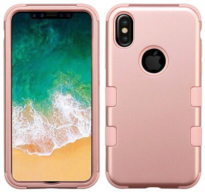 """iPhone XS Max (6.5"""") Rose Gold Hybrid Armor Rugged Hard & Soft Rubber Case Cover"""