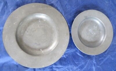 Pair of Very Early Signed Antique Pewter Plates One Marked London