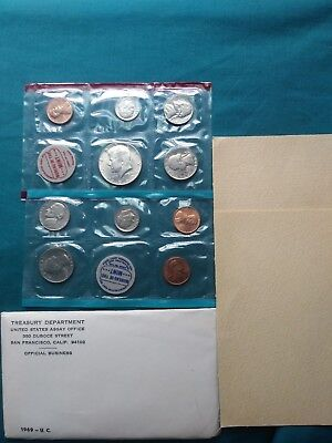 1969 S  U.S. MINT Uncirculated Coin Set Sealed with Envelope #222
