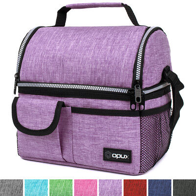OPUX Deluxe Insulated Dual Compartment Double Deck Womens Lunch Bag with  Pockets 74cf11dfb3