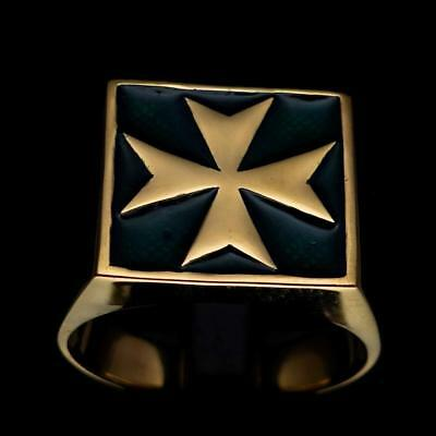 Bronze Mens Crusader Knight Costume Ring Maltese Cross Malta Dark Green Any Size