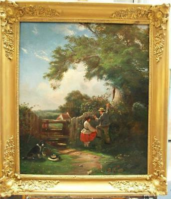 LARGE 19th Century ENGLISH SCHOOL THE BLACKBERRY PICKERS Antique Oil Painting