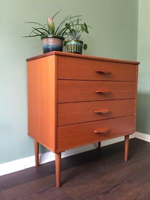 Midcentury Compact Teak Retro Chest Of Drawers On Legs.