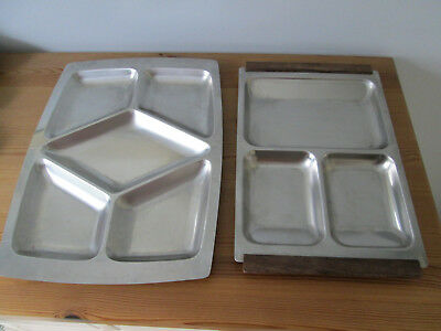 Two Retro 1970's Hors D'Ouvres / Nibbles Divided Serving Trays - One Danish