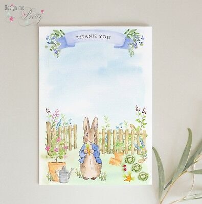 Peter Rabbit Garden THANK YOU CARDS - Pack of 10 - BABY BOY - POSTCARDS NOTELETS