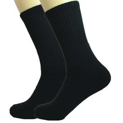 3-12 Pairs For Mens Black Sports Athletic Work Crew Socks Cotton Size 9-11 10-13