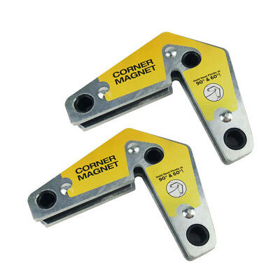 2pcs Dual-Use Strong Welding Magnet Corner Magnetic Holder 60° & 90° Angles NEW