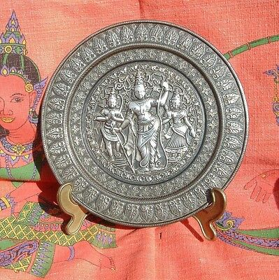 ANTIQUE BRASS PLATE having SILVER motifs and raised faith figures may be Cambdia
