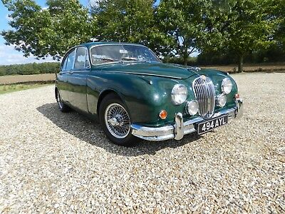 1960 Jaguar mk2 3.4 automatic british racing green wire wheels green leather.
