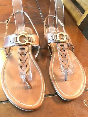 5aac46b7e11cee GUESS WHITE   Gold Chain Leather Thong Sandals Women s Size 10 M ...