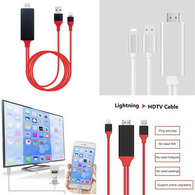 Plug & Play 1080p 6ft Lightning to HDMI HDTV AV Adapter Cable For iPhone & iPad