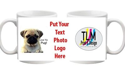 PERSONALISED MUG PICTURE TEXT PHOTO NAME any colour text VAL DAY/Bday FREE P&P