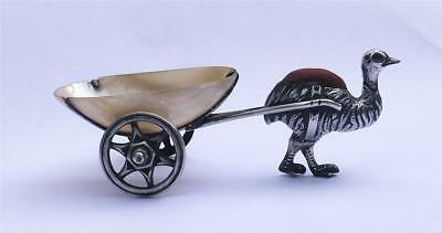 Rare Adie & Lovekin Sterling Silver Ostrich Pincushion & Mother Of Pearl Cart