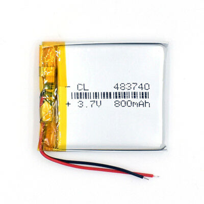3.7V 800mAh  Li-Polymer Battery Rechargeable LiPo 483740 for GPS Reader MP3
