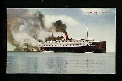 Ship Vintage postcard Steamer Steam Ship Illinois IL U.S. Mail