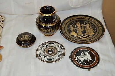 Three Vintage Greek 24K and Cobalt Blue Pieces with Two Hand Painted Greek Tiles