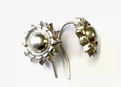 Antique Victorian Silver Ornate Hook Stud Style Earrings C1880