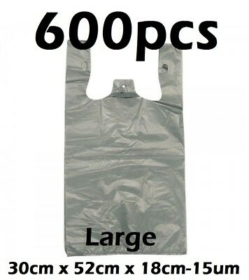 600pcs Plastic Singlet Shopping Carry Checkout Bag Large 30cmx18cmx52cm Grey