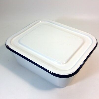 Vintage Blue & White Enamel Dish With Lid