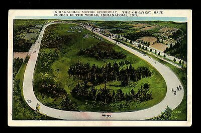 Car Auto Racing postcard Indy 500 Indianapolis, IN race track aerial view 1912