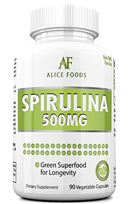 Alice Foods Spirulina Superfood - 500mg Maximum Strength Supplement - up-to 90