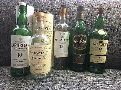 Single Malt Scotch Bottle Lot Balvenie Laphroaig Glenfiddich Glenlivet Maccallan