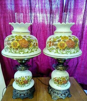 """Pair of """"Gone With The Wind"""" Hurricane Lamps,Double-Globe.Yellow Floral. Vintage"""