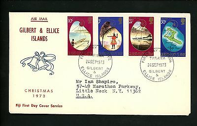 Postal History Gilbert Ellice Islands FDC #212-215 Christmas religion dance 1973