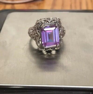 Antique VINTAGE Art Deco Filigree Sterling Silver Amethyst Stone Ring Size 6