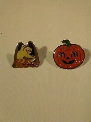 Vintage lot of 2 McDonalds Halloween McBOO pumpkin employee pin pinback lapel