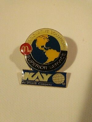 Vintage McDonalds KAY Ecolab innovative solutions employee pin pinback lapel