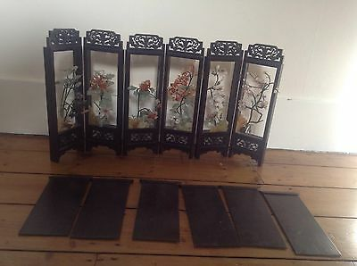 Antique Old Chinese Six Panel Screen