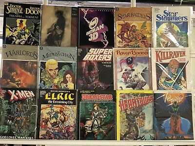 Vintage DC & Marvel Graphic Novels Huge Lot 15 Comic Book Collection Set Run 1