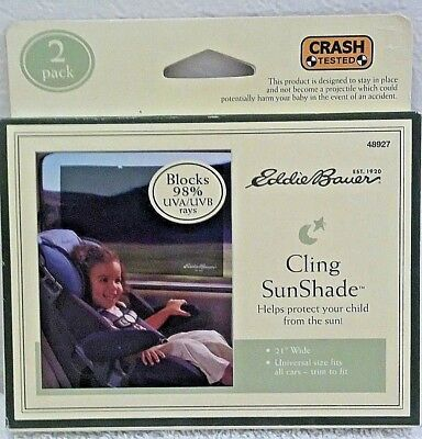 Eddie Bauer Cling Sun Shade 2 Pack Protect Child From Sun Rays New In Pkg