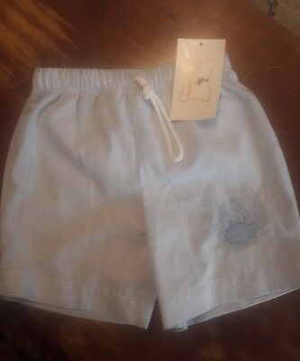 Boutique Smockling Blue Check Crab Embroid Swim Shorts 2T 2 Nwt ~ Free Shipping!