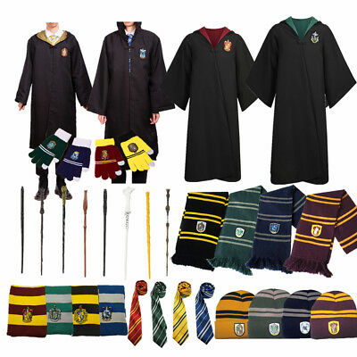 Harry Potter Robe Cloak +Scarf+Hat +Gloves +Tie Socks Wand Costume Cos Halloween