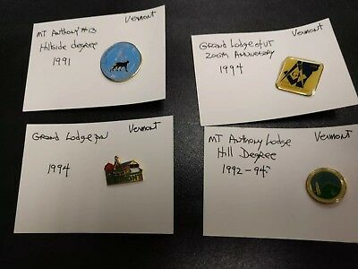 LOT OF 4 MASONIC PINS Vermont Very Good Condition Lot #6