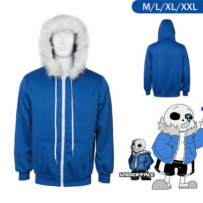 Hot Undertale Sans Cosplay Blue Hoodie Hooded Jacket Sport Coat Sweater Costume