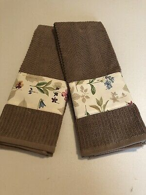 Longaberger Botanical Fields Fabric Handmade 2 Kitchen Dish Towels New Free Ship