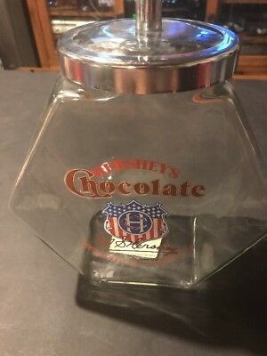 RARE Hershey's Chocolate Vintage Glass Candy / Cookie Jar ~Large~
