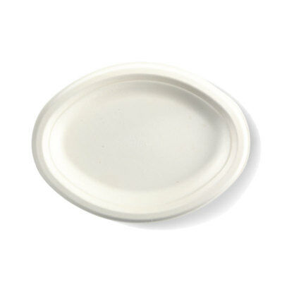 125x Disposable Oval Plate 260x190mm White Sugarcane Eco-Friendly Enviro NEW