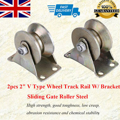 "Useful 2pcs 2"" V Type Wheel Track Rail W/ Bracket Sliding Gate Roller Steel New"