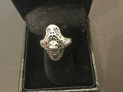 Antique 1920's Art Deco 14k white Gold Diamond Filigree Ring Sz 4.5