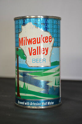 "Milwaukee Valley Beer flat-top can, West Bend Lithia, West Bend, WI ""TOUGH"""