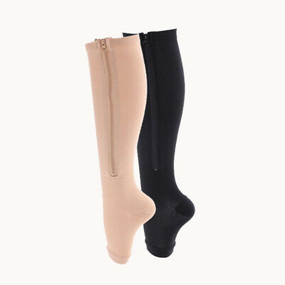 Zip Sox Compression Socks with Zipper Supports Leg Knee Stockings Open Toe    AU
